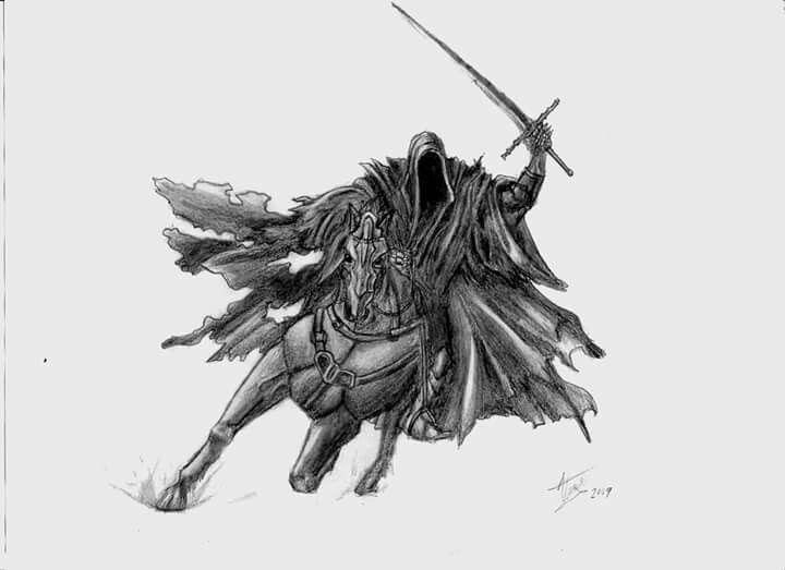 Nazgul the black rider from the Lord of the Rings pencil drawingb- the old one