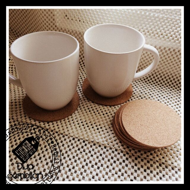 Cork Coasters | Round-Shaped Cork Coasters | Coasters for Glass & Mugs | Coasters for Wedding Tables, Restaurants & Cafes | Inexpensive Wedding Items | Coasters for Bulk Purchases | Wedding Favour Coasters | Cork Coasters As Door Gifts | Singapore Malay Wedding Souvenirs | Berkat Kahwin | Light-Weight | Dua Sembilan | Duaa Sembilann