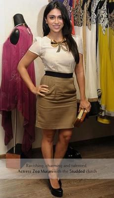 Zoa Murani - Indian actor carries the Rachana Reddy 'Studded' bag   #Zoa Murani #rachanareddy #wood #woodenclutch #clutch #bag #fashion #accessory #madeinindia  #bling #india #bollywood #celeb   Shop here: www.rachanareddy.com #yourblouseyourway