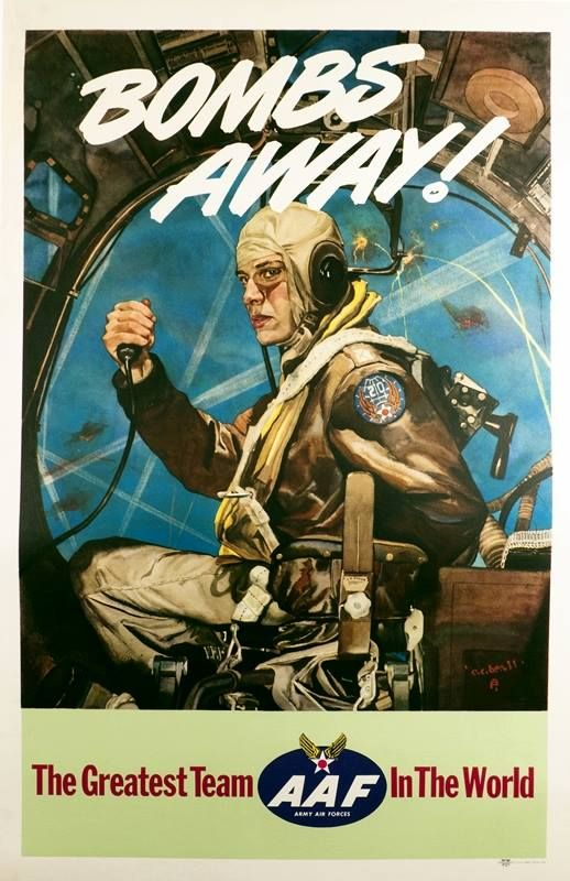 """""""Bombs Away"""" by C.C. Beall, 1944; used as artwork for a WWII Air Force Poster. The model is the artist's son Charles Beall, posing as a B-17G Flying Fortress pilot in full uniform seen in the middle of a daring air raid mission, behind enemy lines. https://www.google.co.uk/search?q=Bombs+Away%22+by+C.C.+Beall&biw=1366&bih=622&source=lnms&tbm=isch&sa=X&ei=QsndVMKbJcn1UraTgZgL&ved=0CAYQ_AUoAQ"""