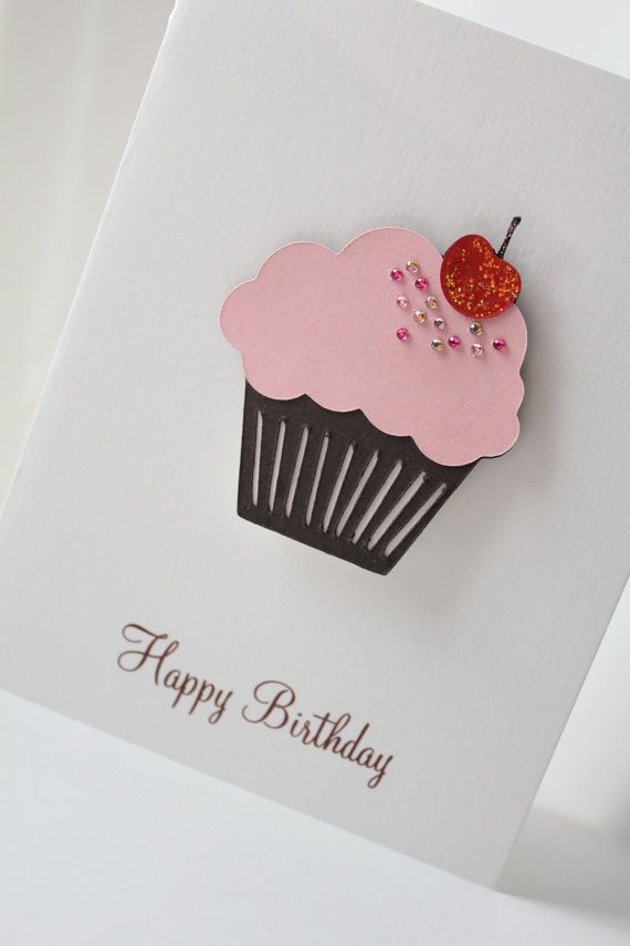 Happy Birthday Card - Pink Rhinestone Cupcake - Personalize - Thank You - Congratulations - Get Well - Sympathy - Mothers Day via Etsy