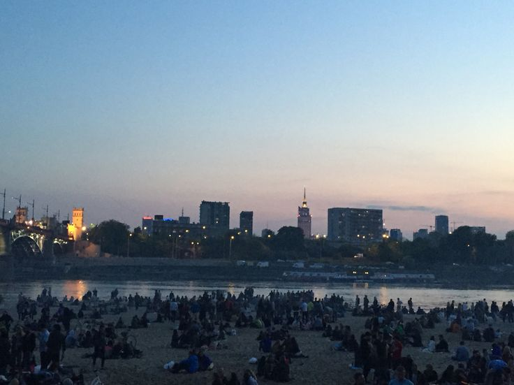 The view from the other side of Wisla river. Warsaw. Poland.