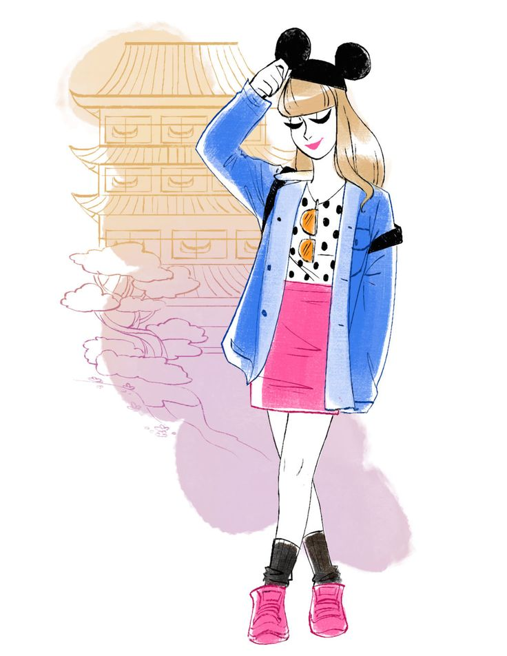 Tokyo-inspired Disney style | Gabby Zapata fashion illustration | [ http://di.sn/6001BNwKh ]
