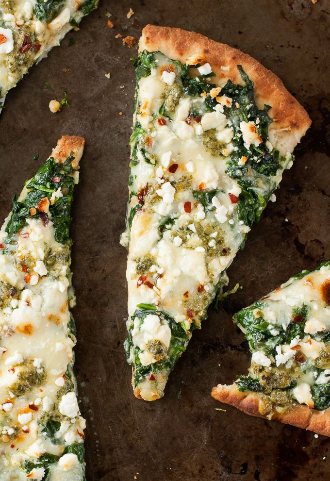 Three Cheese Spinach and Pesto Flatbread Pizza for One