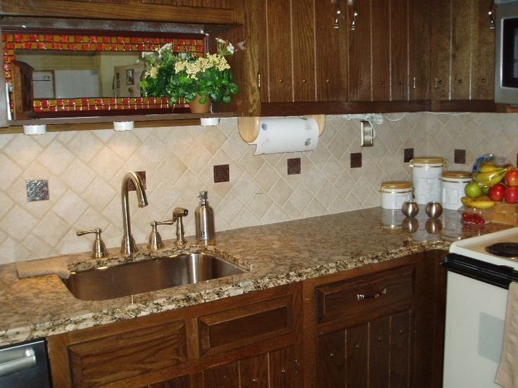 Kitchen Oak Kitchen Cabinet Granite Countertop Classic Accent Faucet And Subway Tile Backsplash Ideas Kitchen Backsplash Tile Ideas Photos