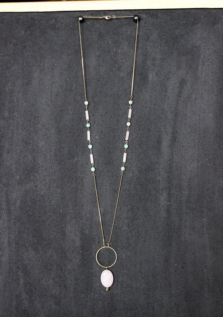Sautoir original chaîne dorée laiton perles semi-précieuses quartz rose et amazonite bleu vert