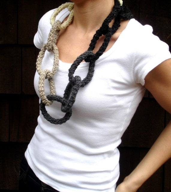 crochet wool necklace