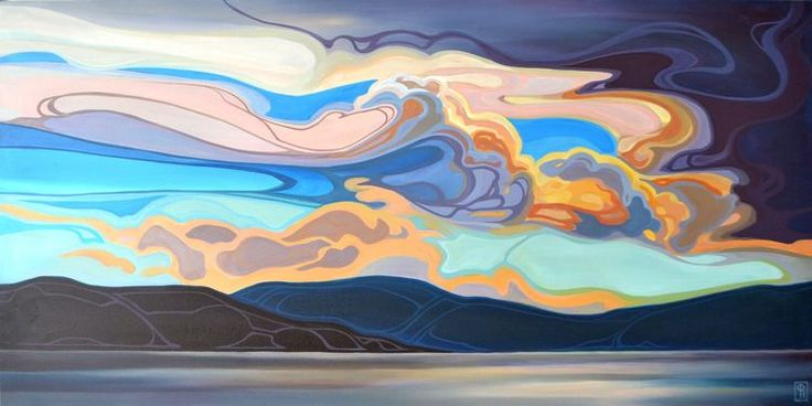 """Unfurled Sky, Acrylic on Canvas, 24"""" x 48"""" By Erica Hawkes"""