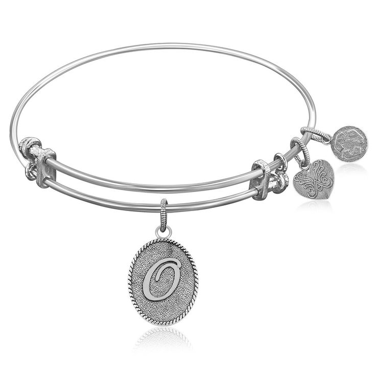 Expandable Bangle in White Tone Brass with Initial O Symbol