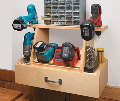 Cordless Tool Station Woodworking Plan option 2 for the tiny garage workshop