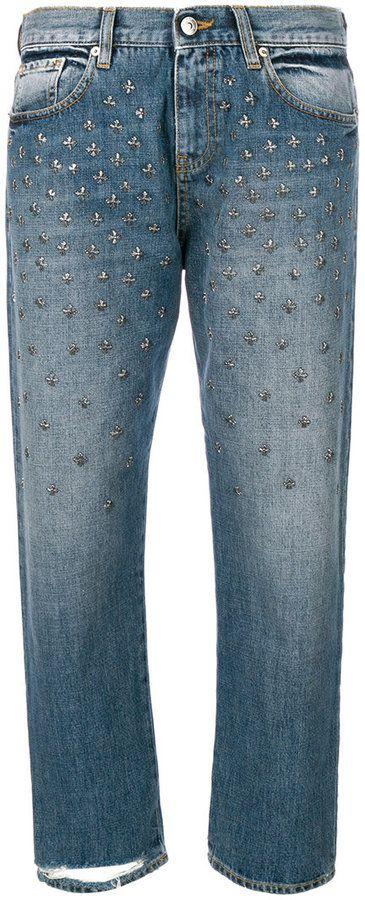 Gaelle Bonheur cropped medallion studded jeans