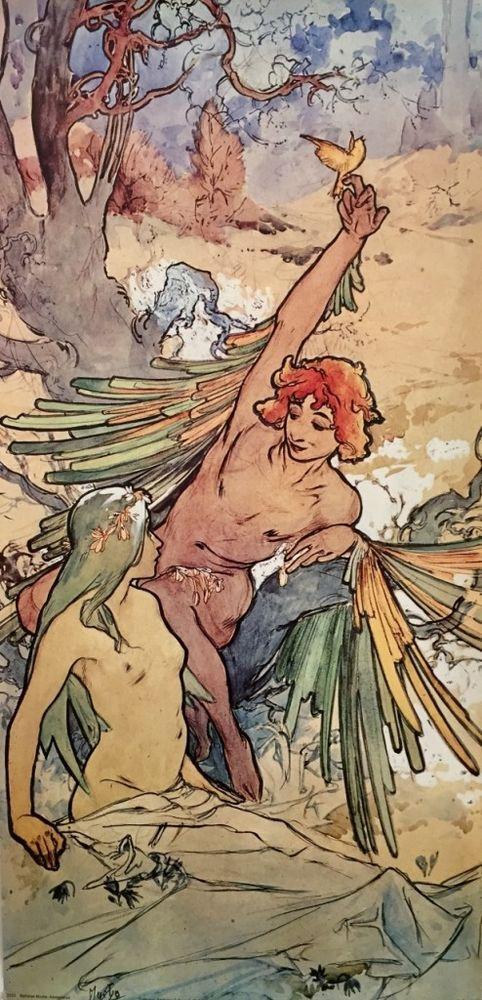 Adolescence : Alphonse Mucha : Circa 1898 : Art Print