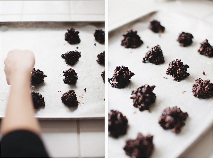 12 oz. Dark Chocolate Chips (milk if you prefer)  1 1/3 Cup Puffed Millet, Rice, Kamut (found in the cereal isle)  1 Cup Dried Cranberries, Chopped  1/2 Cup Toasted Pecan Pieces  Sea Salt