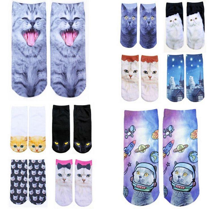 3D Printed Animal Women Casual Socks Cute Cat Unisex Low Cut Ankle Socks New #Unbranded #AnkleSocks
