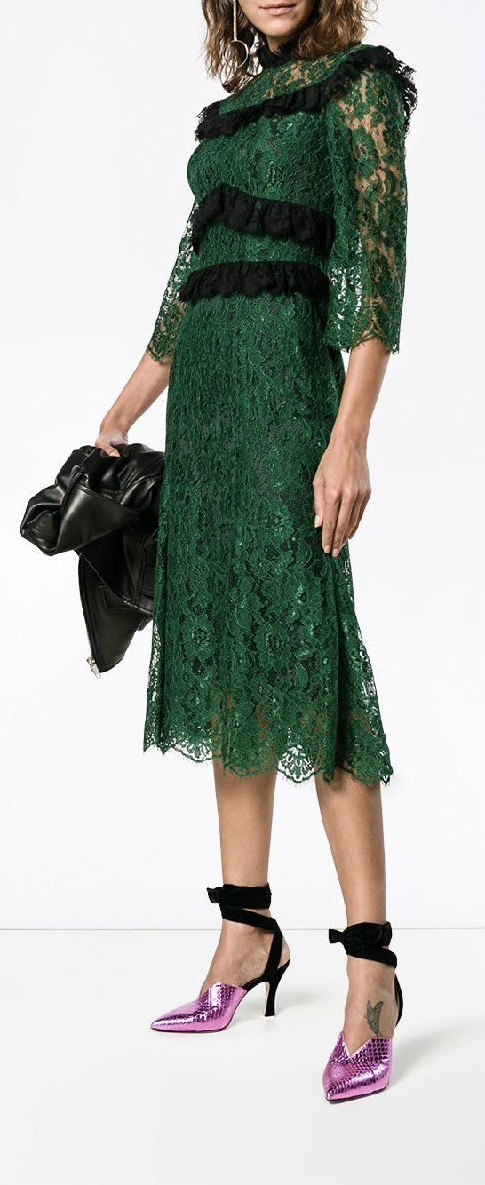 DOLCE & GABBANA ruffle-trimmed lace midi-dress, explore new season partywear on Farfetch now.