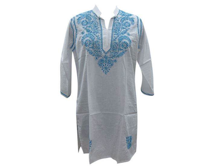 Embellished Tunic Top White Paisley Floral Embroidered Design Summer Kurti