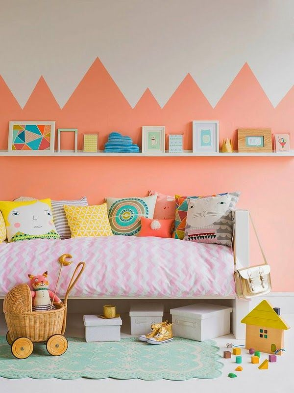 the boo and the boy: eclectic kids' rooms.  Super cute big girl room. Love the wall