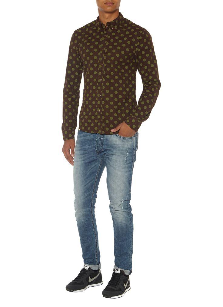 Scotch & Soda Flanellen overhemd met stippenprint • de Bijenkorf