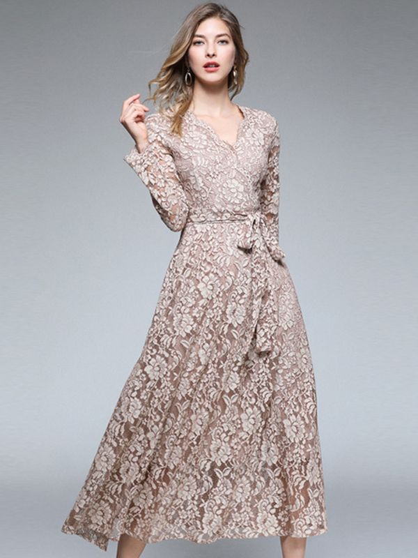 7c20252a151 Embroidery Lace V-Neck Long Sleeve Maxi Dress in 2019