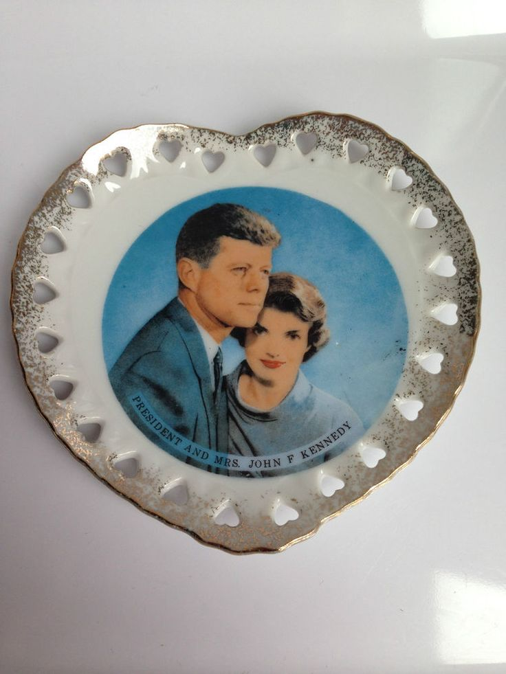 Vintage JFK and Jackie Kennedy Trinket Heart Dish - Jewllery Plate or Candy Dish or For Display