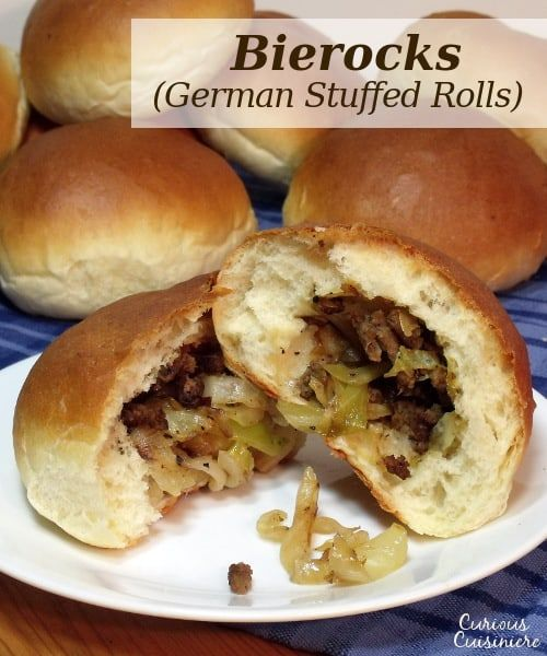 The flavorful beef and cabbage stuffed in a fluffy roll makes German Bierocks the perfect hand-held food to go along with your Oktoberfest beer.   www.CuriousCuisiniere.com