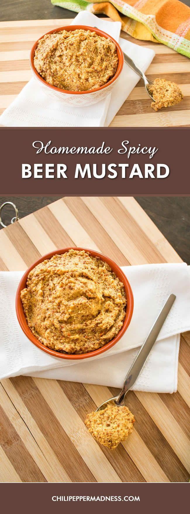 Homemade Whole Grain Spicy Beer Mustard - Make your own whole grain mustard at home with this recipe, using brown and yellow mustard seeds, IPA beer, apple cider vinegar, and 7-pot chili peppers that offer a blast of wondrous heat.