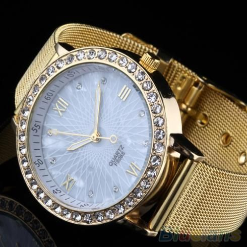 Cheap mesh watch band, Buy Quality watch interesting directly from China mesh sweater Suppliers: 	Golden tone crystal rhinestone round case mesh band lady woman watch, this noble and classic design is elegant and sure
