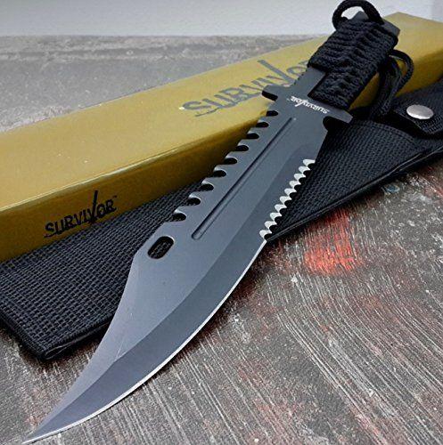 SURVIVOR KNIFE TACTICAL SURVIVAL Rambo Full Tang FIXED BLADE KNIFE Hunting w/ SHEATH...