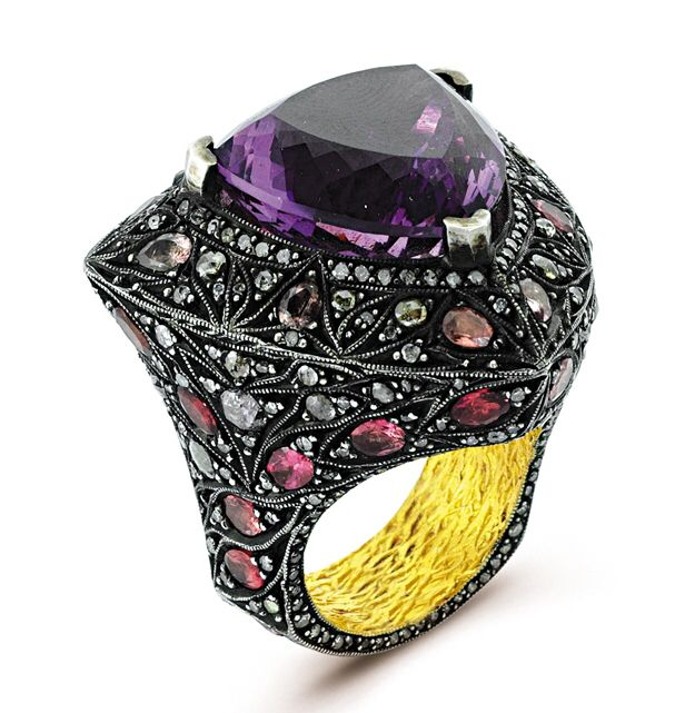 Antique finished ring with 24k/925, Amethyst, Tourmaline, Rosecut & S. Cut diamonds