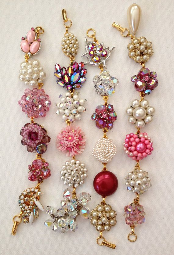 These four bracelets are made with repurposed, upcycled, pink, red, pearl and crystal vintage earrings. Each earring is permanently attached