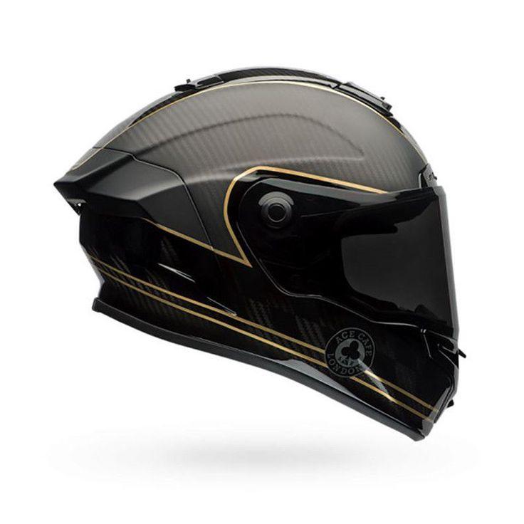 Bell Race Star Full Face Motorcycle Helmet - Check Matte Black/Gold + DARK VISOR | eBay