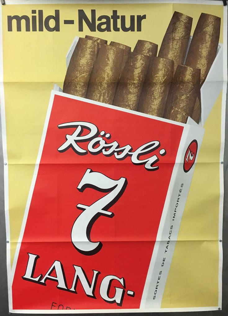 Fumeur - pipe - cigare - cigarette : Affiche cigares Rossli 7 Lang vers 1990