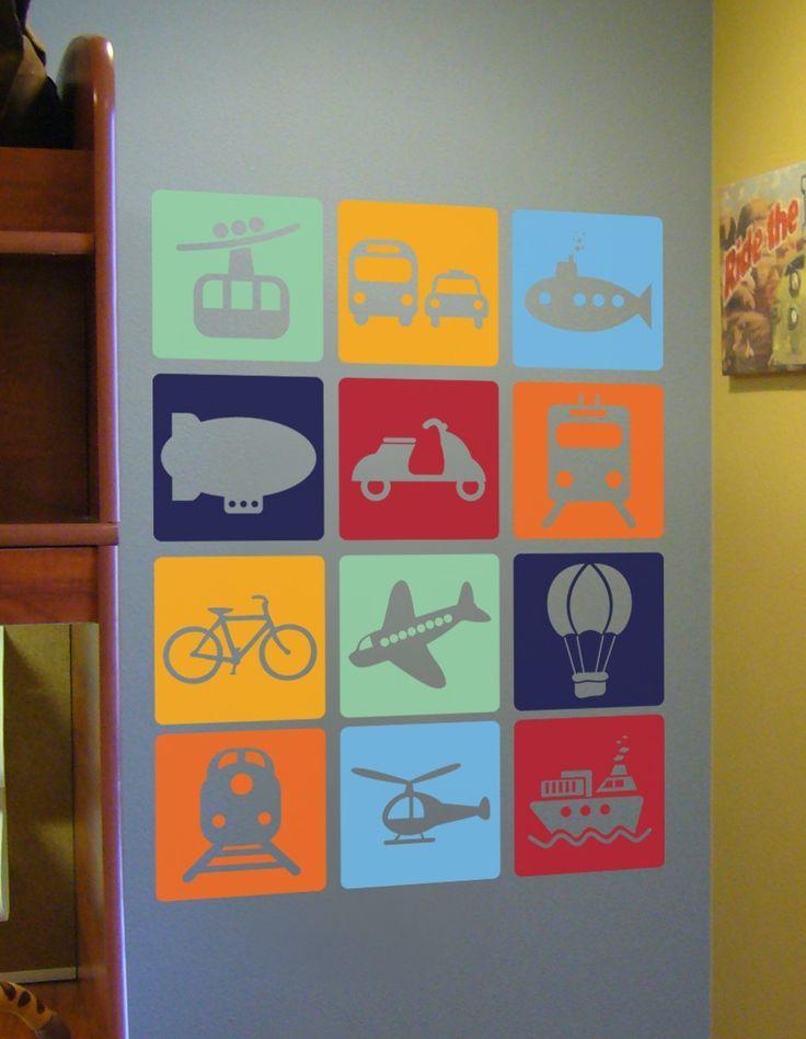 Transportation Squares - Vinyl Wall Art Decal Sticker. $65.00, via Etsy.