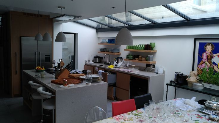 Glass roof and bespoke kitchen by Sharp Projects