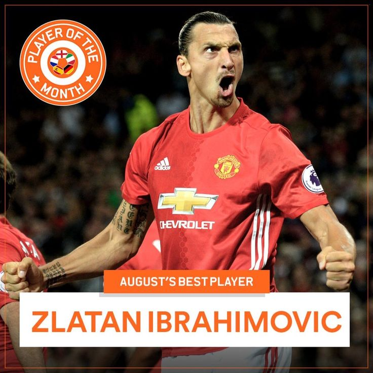 Zlatan Ibrahimovic has been named Eurosport's European Player of the month for August
