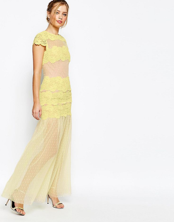 ASOS  Jarlo Sheer Maxi Dress With Lace Panels