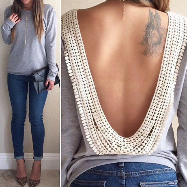 Sexy Round Collar Long Sleeve Spliced Backless Women's T-Shirt, GRAY, M in Long Sleeves | DressLily.com