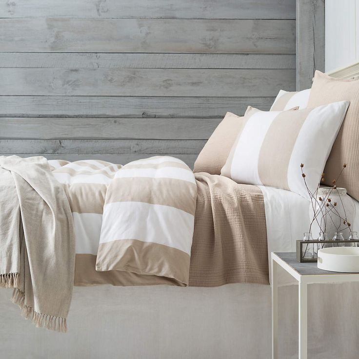 Spinnaker Stripe Natural Duvet Cover | Pine Cone Hill