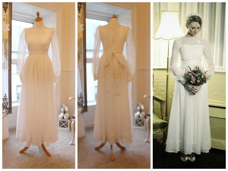 1970s beautiful dot tulle floor length vintage  wedding dress. Size 8 www.vintagepearlbridal.ie