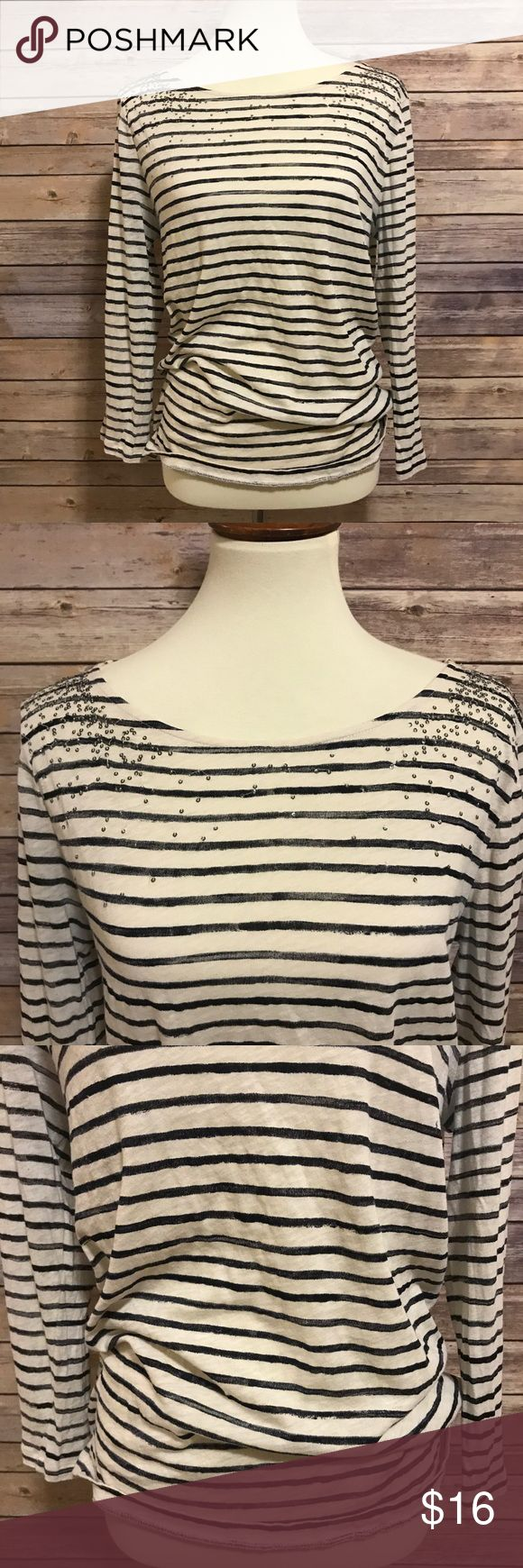 J.Crew Factory striped 3/4 sleeve sequin top Factory outlet top! Cute shirt with minor fading in the armpits. Sleeves 3/4 length. Sequin on the shoulder area. Chest 38/ length 24.5. J.Crew Factory Tops