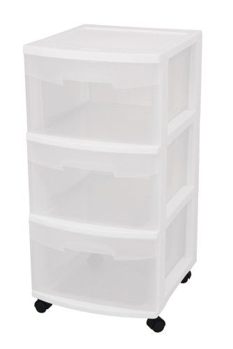 Sterilite 28308002 3-Drawer Medium Cart with See-Through Drawers and Black Casters, White, 2-Pack STERILITE http://www.amazon.com/dp/B001RCUNOI/ref=cm_sw_r_pi_dp_ta2Bvb14R54FG