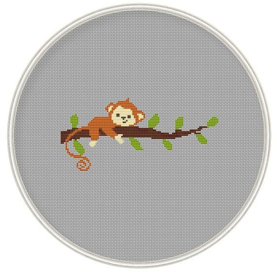 Сross stitch pattern Monkey on tree cross by MagicCrossStitch
