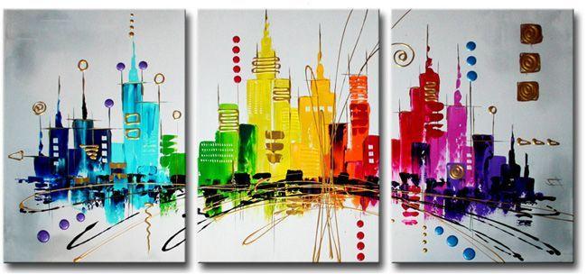 Ines schilderijen bestaan ook wel eens uit meerdere delen.Deze skyline is geschilderd op drie canvasdoeken.