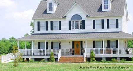 White house, Black shutters, and Wrap around porch :)