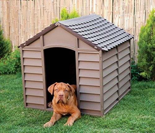 Large Heavy Duty Plastic Dog House Pet Shelter  Brown 78 x 84.5 x 80.5 cm.