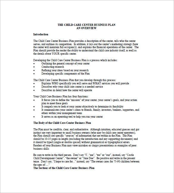 20 Child Care Business Plan Template In 2020 With Images