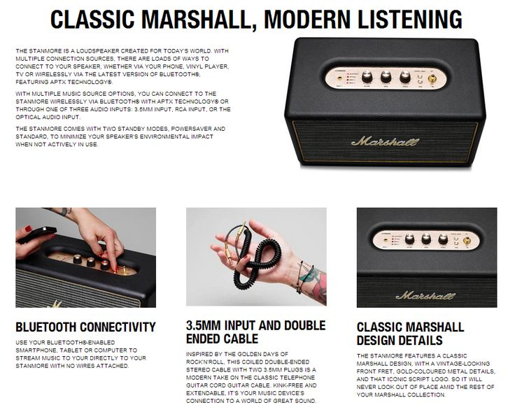 Official Stanmore Press Release descriptors and overview. #marshallheadphones #marshallspeakers #marshallstanmore #bluetooth #planetofsound #weliveformusic #madeinmelbourne #allthewayto11 #50yearsofloud