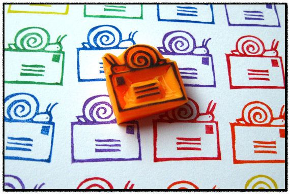 Snail Mail Hand Carved Stamp by SweetSpotStampShop on Etsy, $4.99