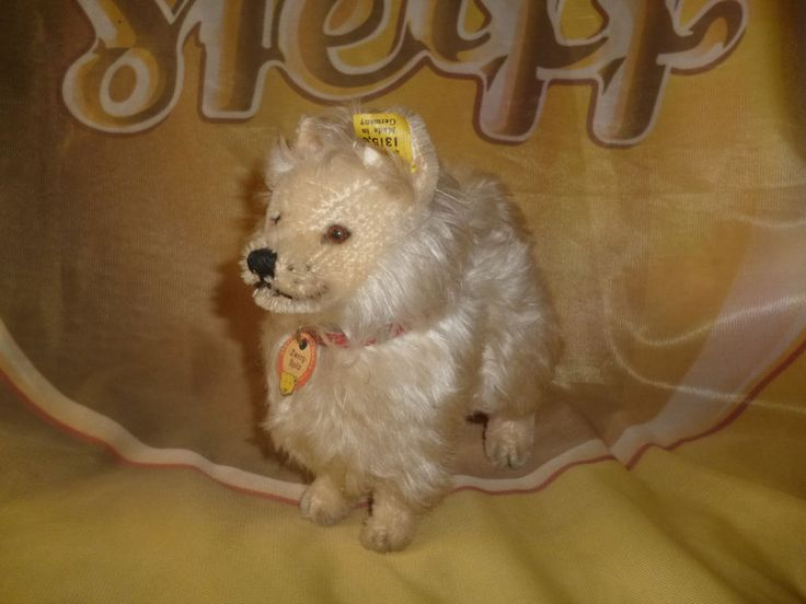 "STEIFF  PRE WAR Dog Miniature Pommeranian all ID's 6"",  excellent condition RARE"