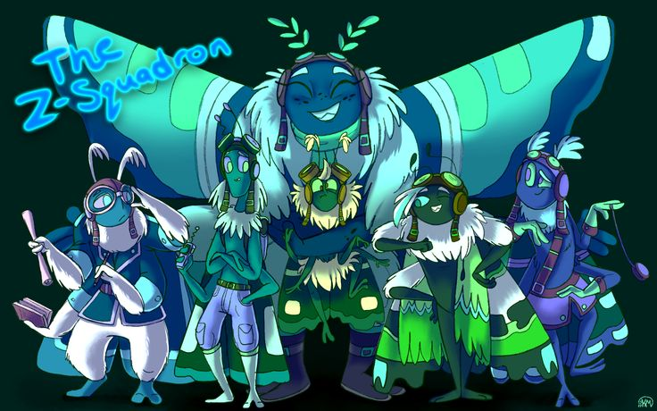 One last piece of artwork before the end of the year (uploading both versions because I can't decide which one I like better). I've had this one in the works for a few weeks now but finally got it done now, group shots are hard. xD After drawing Zander I felt compelled to draw the rest of the Z-Squadron. They're all siblings, so it was interesting to design them as such. A good moth fam. :D  From left to right: Zanth, Zereth, Zeria, Zonk (the one getting hugged), Zander and Zeke.